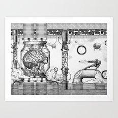 Mother Brain Super Metroid Engraving Scene Art Print