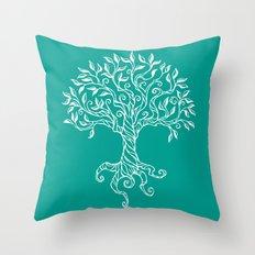 Tree of Life Teal Throw Pillow