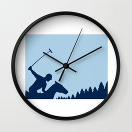 Polo Player Riding Horse Trees Square Retro Wall Clock
