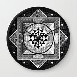 Sri Yantra Black & White Sacred Geometry Mandala Wall Clock