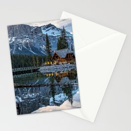 Emerald Lake mountain lake mountain landscape rocks winter forest Canada Canadian Rocky Mountains British Columbia Yoho National Park Stationery Cards