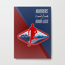 Cross Country Runner Retro Poster Metal Print