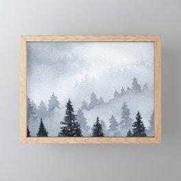 Misty Forest Watercolor Framed Mini Art Print