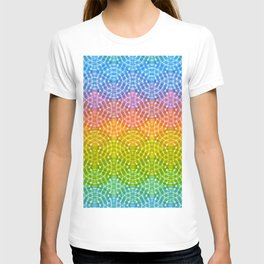 Bright colorful seamless pattern. Rainbow bright lilac pink green purple blue print T-shirt
