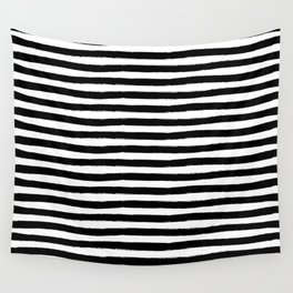 Black And White Hand Drawn Horizontal Stripes Wall Tapestry
