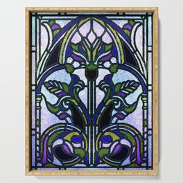 Blue and Green Glowing Art Nouveau Stain Glass Design Serving Tray