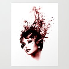 the woman in red Art Print