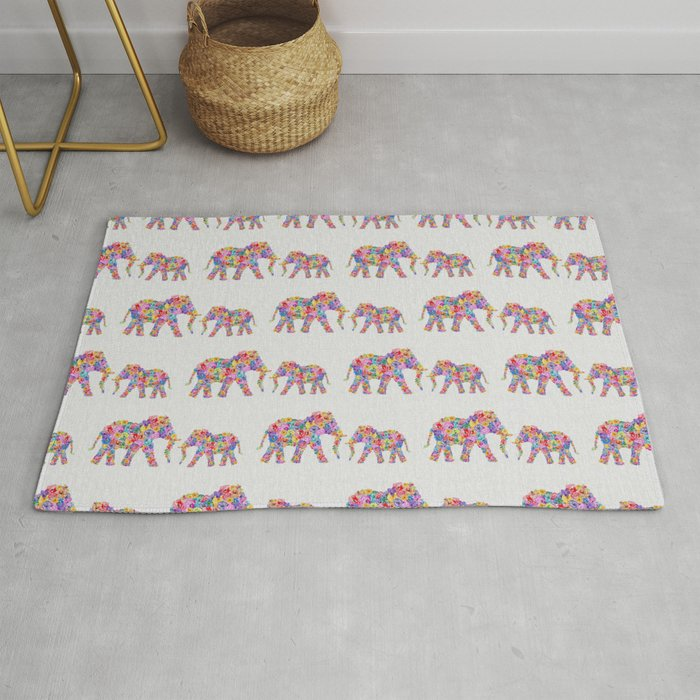 Fl Elephants Nursery Decor Rug By Paperpixelprints