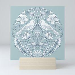 Modern folk art birds and flowers in white and blue Mini Art Print