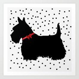Christmas Scottie Dog Art Print