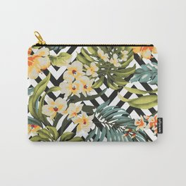 Flowered Chevron Carry-All Pouch