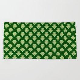 Shamrock Clover Polka dots St. Patrick's Day green pattern Beach Towel