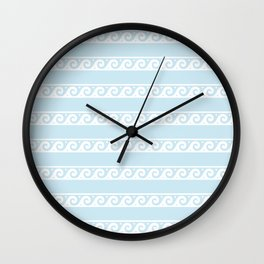 Pale Blue and white Greek wave ornament pattern Wall Clock