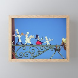 Funny and cute iron sign of a family restaurant in Alsace, France - French Gastronomy - Photography Framed Mini Art Print