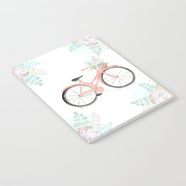 Coral Spring bicycle with flowers Notebook