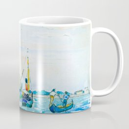 Henri-Edmond Cross Neo-Impressionism Pointillism Marine Scene (Boats near Venice) Watercolor Coffee Mug