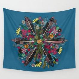 bohemian posy blue Wall Tapestry