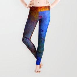 Intensity of Blue Digital Painting Leggings
