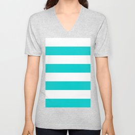 Wide Horizontal Stripes - White and Cyan Unisex V-Neck