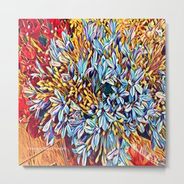 Blues Bouquet with Yellow and Red Metal Print