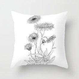 Calendula Flowers Throw Pillow