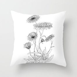Calendula Flowers Throw Pillow