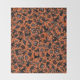 Halloween Cats on orange Throw Blanket