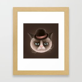 Sad cat Framed Art Print