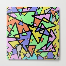 Triangulation - Geometric, pastel coloured abstract design, green, red, yellow, pink, blue Metal Print