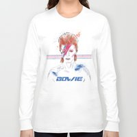 bowie Long Sleeve T-shirts featuring Bowie by Usagi Por Moi