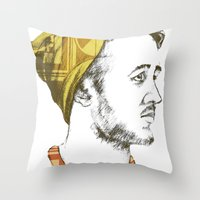 indie Throw Pillows featuring Indie Boy by Anne Dippy
