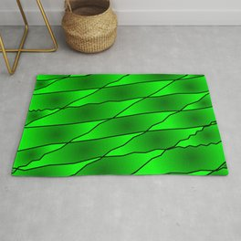 Slanting iridescent lines and rhombuses on green with intersection of glare. Rug