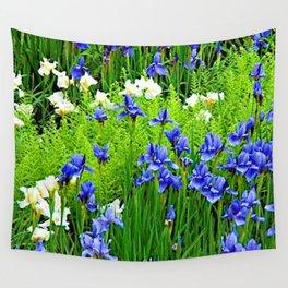 BLUE & WHITE  IRIS FLOWER GARDEN Wall Tapestry
