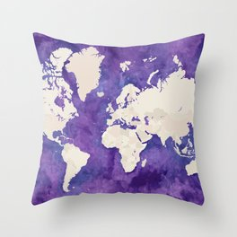 Purple watercolor and light brown world map with outilined countries Throw Pillow