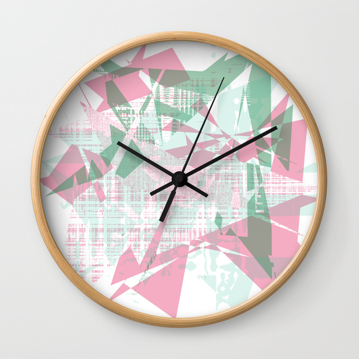 Abstract Background Design Cool Looking Colorful Shapes Wall Clock By Imagek Society6