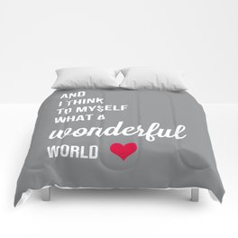 Wonderful world typogrphy Comforters
