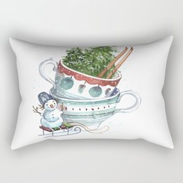 Watercolor illustration for the design of New Year's cards, sites, bookmarks. Snowman on a white bac Rectangular Pillow