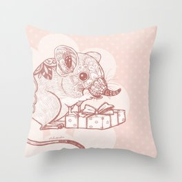 Present for You - Elephant Shrew[Pale orange ] Throw Pillow