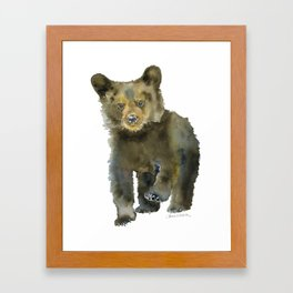 Black Bear Cub Watercolor Framed Art Print