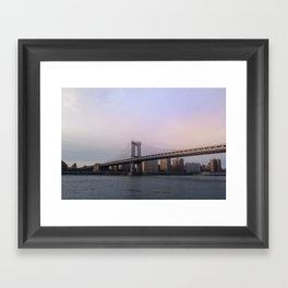 Manhattan Bridge at Sunset Framed Art Print