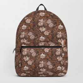 White roses in earth shades Backpack