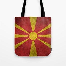 Old and Worn Distressed Vintage Flag of Macedonia Tote Bag