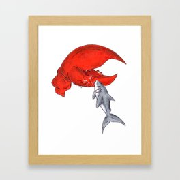 Great White Lobstah Lovah Framed Art Print