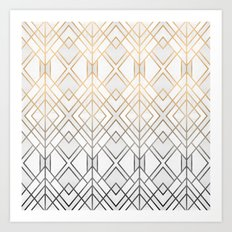 Gold And Grey Geo Art Print