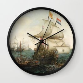 Dutch Ships Ramming Spanish Galleys off the Flemish Coast Wall Clock
