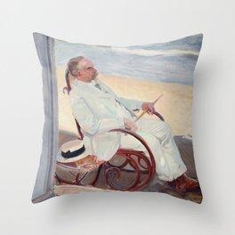 Antonio García at the Beach - Joaquín Sorolla Throw Pillow
