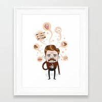 ron swanson Framed Art Prints featuring Ron Swanson by Cody Bond