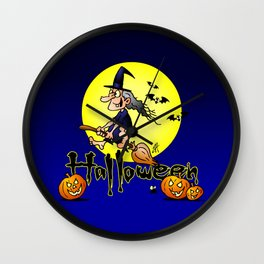 Halloween, witch on a broom, bats and pumpkins Wall Clock