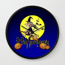 Halloween, witch on a broom, bats and pumpkins Wall Clock