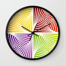 Colorful Squares twirling from the Center. Optical Illusion of PerspectiveColorful Squares twirling Wall Clock